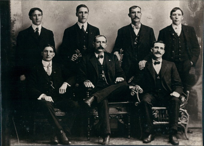 Back Row, Left to Right:  Thomas Furlong, George Lockhart Furlong, Edward Thomas Furlong, Frederick Waters Furlong.  Front Row, Left to Right:  John Frederick Furlong, Albert Harry Furlong, James William Furlong.