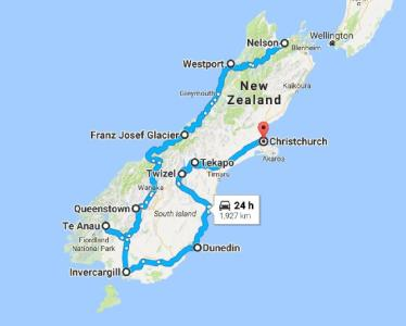Planned drive around the South Island, New Zealand