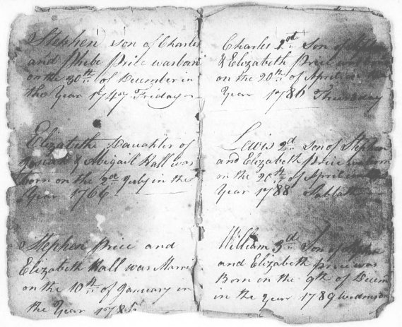 Page from Price Family Bible in Stephen Price Revolutionary War pension file