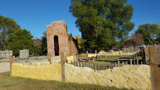 Outline of first church in Jamestown