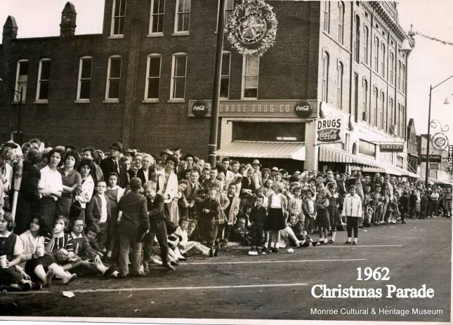 1962 Christmas Parade, Broad Street, Monroe, Georgia. Photo Courtesy Monroe Cultural and Heritage Museum.