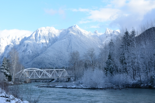 Snowy scene in Index, Washington