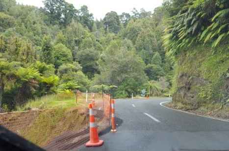 Area of road washed down cliff along Forgotten World Highway