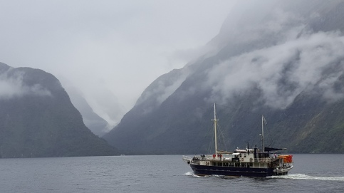 Milford Sound on a cloudy day