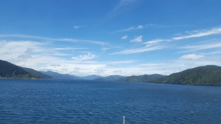 View from Interislander Ferry as we approach the South Island
